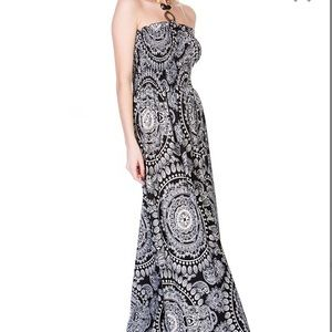 Black Medallion Halter Maxi Dress elasticized top